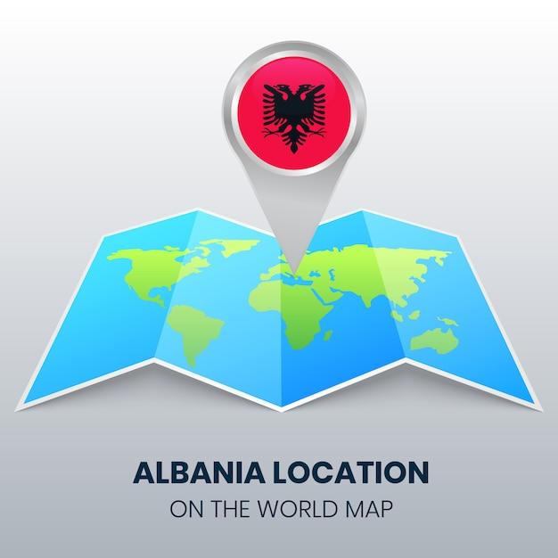 Posizione di albania sulla mappa del mondo, icona spilla rotonda di albania Vettore Premium