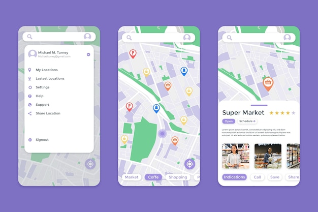 Interfaccia dell'app di localizzazione Vettore Premium