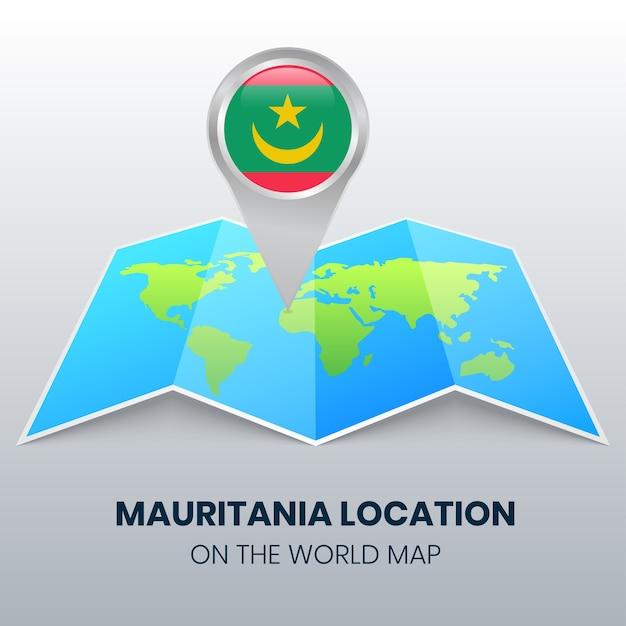 Icona della posizione della mauritania sulla mappa del mondo, icona del perno rotondo della mauritania Vettore Premium