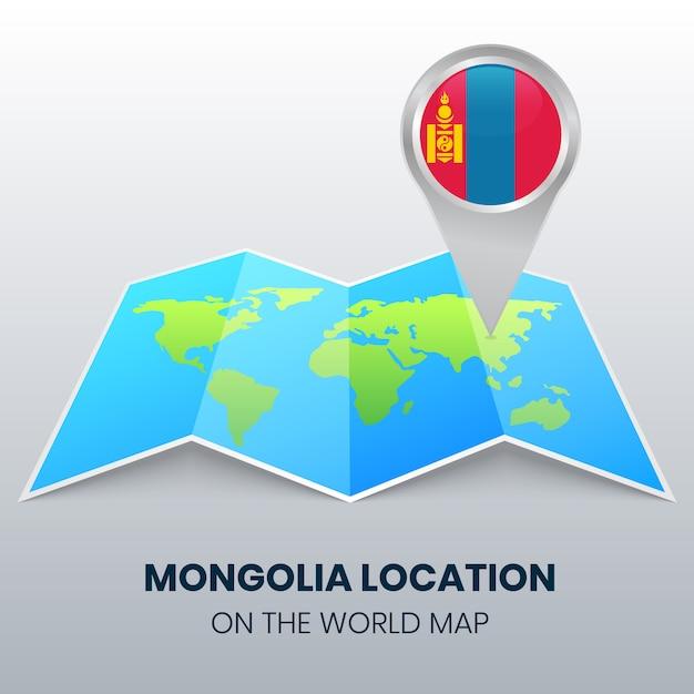 Icona della posizione della mongolia sulla mappa del mondo, icona del perno rotondo della mongolia Vettore Premium
