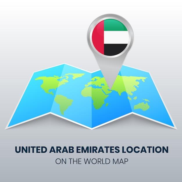 Icona di posizione degli emirati arabi uniti sulla mappa del mondo, icona pin rotondo degli emirati arabi uniti Vettore Premium