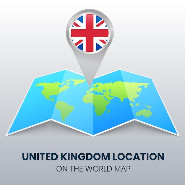 Icona posizione del regno unito sulla mappa del mondo, icona spilla rotonda del regno unito Vettore Premium