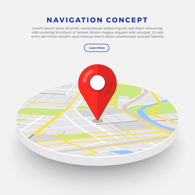 Posizione navigator concept Vettore Premium