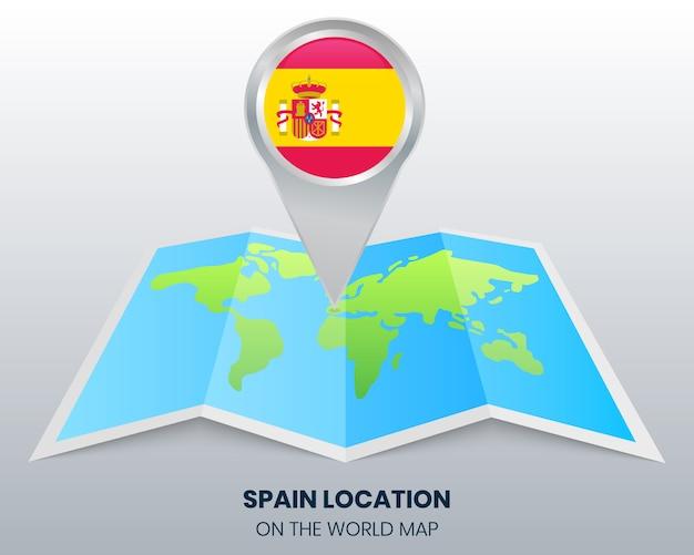 Posizione della spagna sulla mappa del mondo Vettore Premium