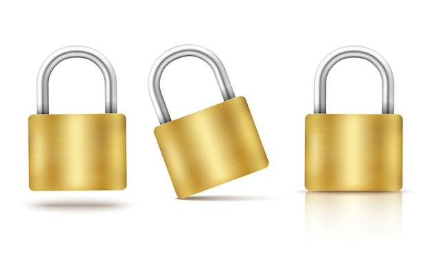 Lucchetto chiuso oro isolato su bianco Vettore Premium