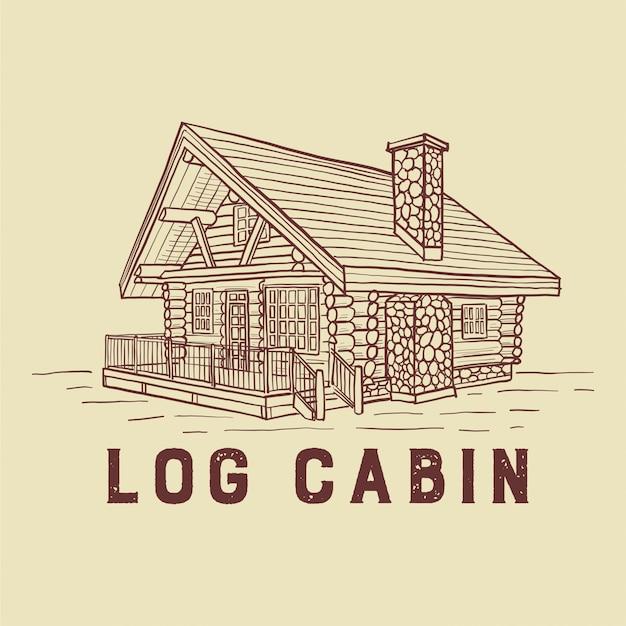 Illustrazione della capanna di tronchi Vettore Premium