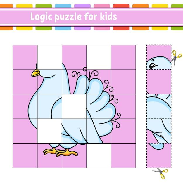 Puzzle di logica per bambini. foglio di lavoro per lo sviluppo dell'istruzione. Vettore Premium
