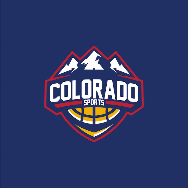 Logo basket colorado sports Vettore Premium