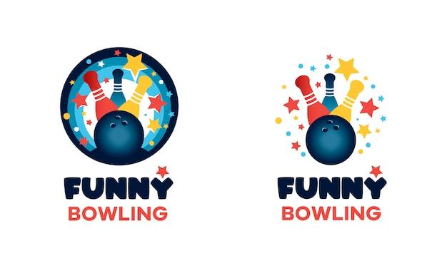 Logo per il bowling. segno multicolore rotondo divertente. immagine di una palla da bowling e birilli Vettore Premium