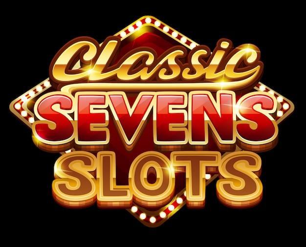Logo classico sette slot per gioco Vettore Premium