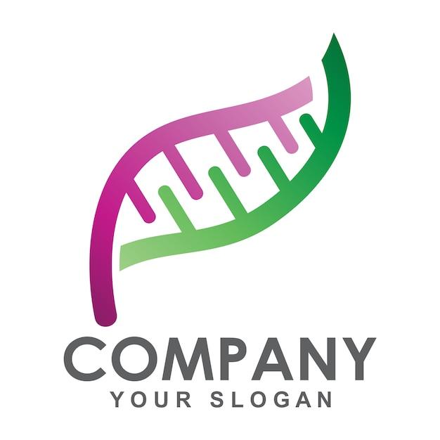 Logo concept dna leaf Vettore Premium