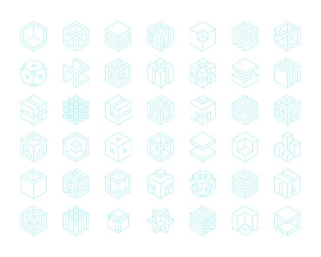 Insieme di modelli di cubi logo Vettore Premium