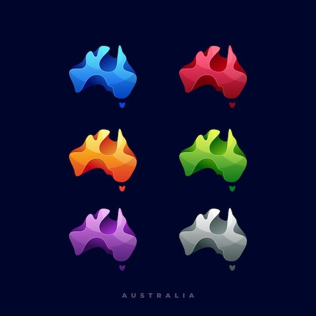 Logo illustration abstract australia con colore differente multiplo impilato separato degli oggetti con stile variopinto Vettore Premium