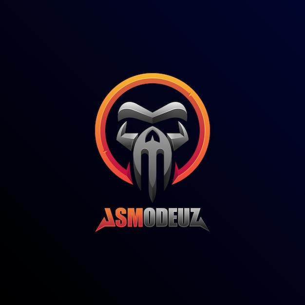 Stile futuristico del distintivo dell'emblema della bestia del diavolo del cranio dell'illustrazione geometrica di logo illustration Vettore Premium