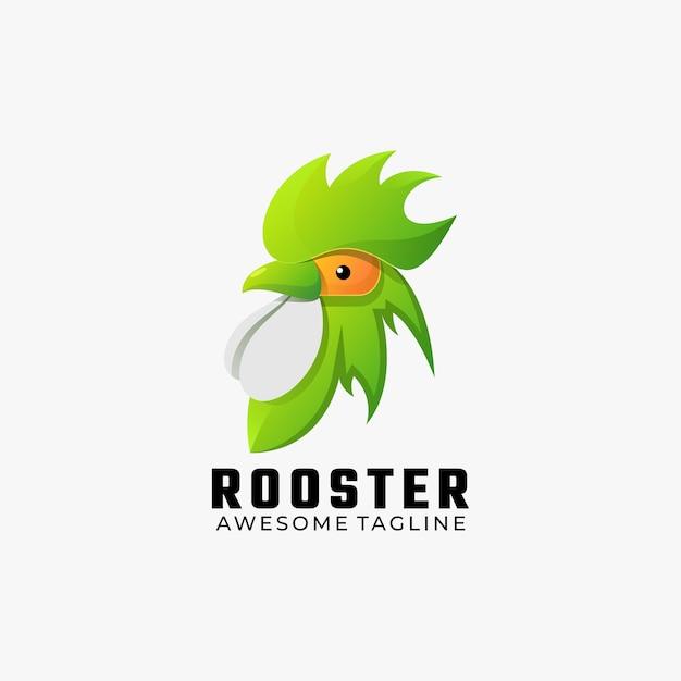 Logo illustrazione gallo gradiente colorato stile. Vettore Premium