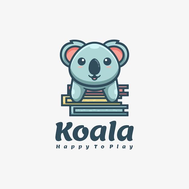 Logo mascotte koala semplice stile mascotte. Vettore Premium