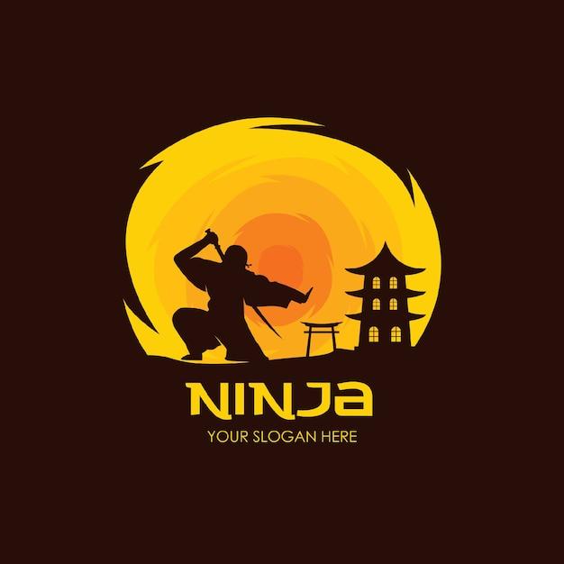 Modello piatto logo notte ninja Vettore Premium