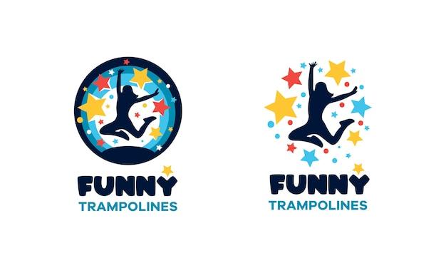 Logo per il centro del trampolino. segno multicolore rotondo divertente. Vettore Premium