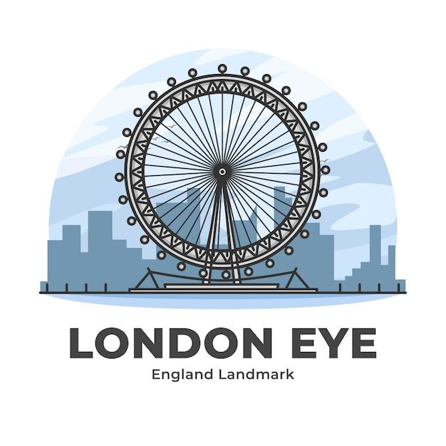 London eye inghilterra landmark minimalista cartoon illustrazione Vettore Premium