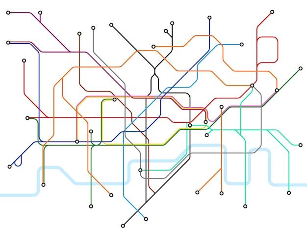 Mappa della metropolitana di londra. sistema di trasporto pubblico della metropolitana. Vettore Premium