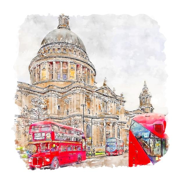 Illustrazione disegnata a mano di schizzo dell'acquerello di londra regno unito Vettore Premium
