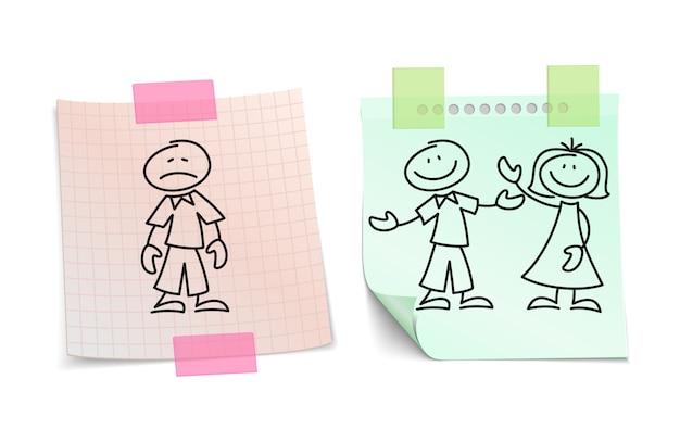 La solitudine contro l'amore felice sul concetto di vettore di fogli di carta Vettore Premium