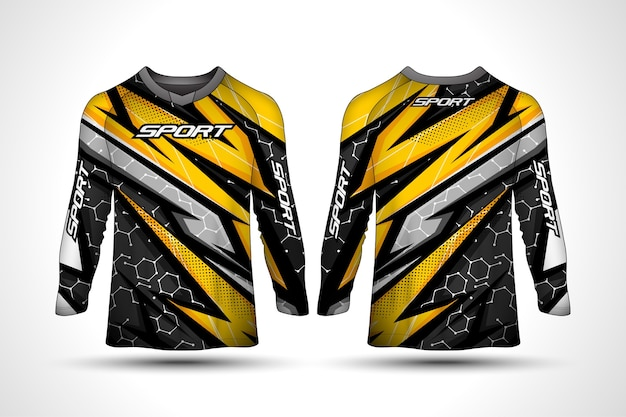 Modello di design t-shirt manica lunga, maglia da motociclista sportiva da corsa Vettore Premium