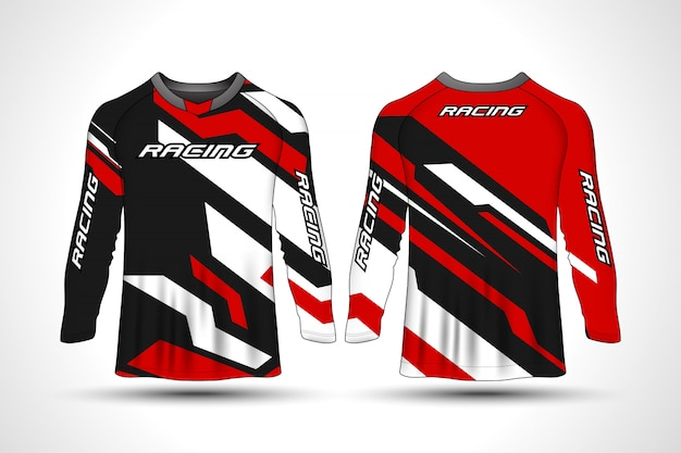 T-shirt manica lunga da moto sportiva in jersey Vettore Premium