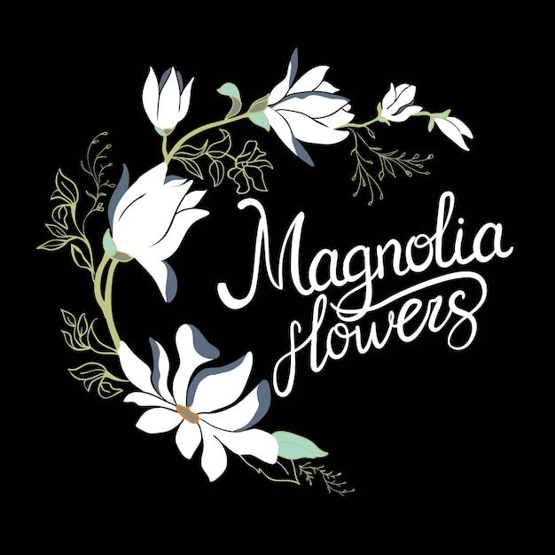Fiori del telaio della magnolia sul ramo isolato su fondo bianco. set di magnolia dell'acquerello Vettore Premium