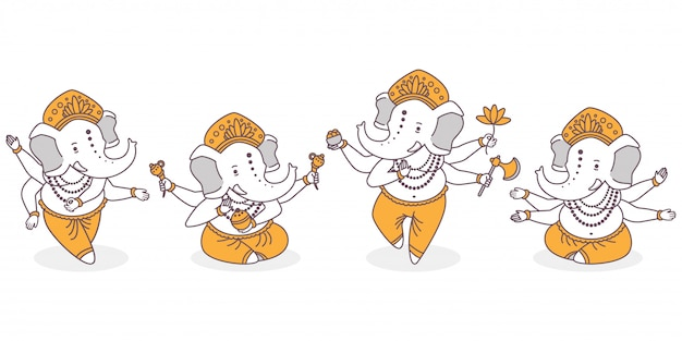 Set di personaggi simpatici dei cartoni animati di lord ganesha. dio indù con la mano dell'elefante nella posa del loto e di ballo isolata su fondo bianco. Vettore Premium
