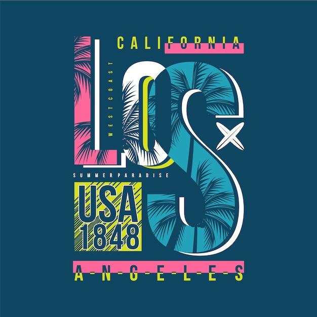 Illustrazione di progettazione di tipografia di vettore della spiaggia della california di los angeles Vettore Premium