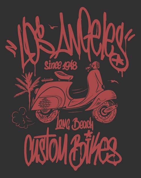 Etichetta di graffiti di los angeles e design disegnato a mano di scooter. Vettore Premium