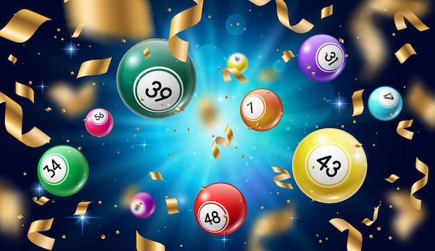 Palline della lotteria bingo 3d, lotto o giochi d'azzardo keno Vettore Premium