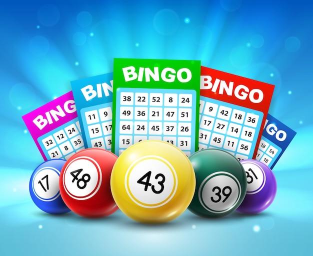 Palline e biglietti della lotteria, carte del lotto bingo 3d con numeri Vettore Premium