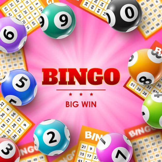 Palline e biglietti della lotteria, poster di bingo 3d per giochi di lotto, bingo o keno. Vettore Premium