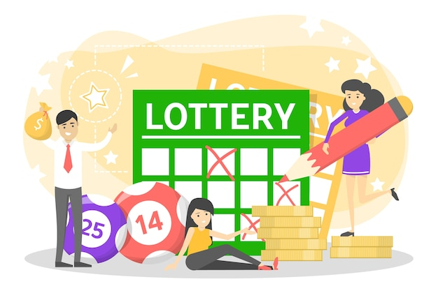 Concetto di lotteria. gioco d'azzardo e bingo. gioca Vettore Premium