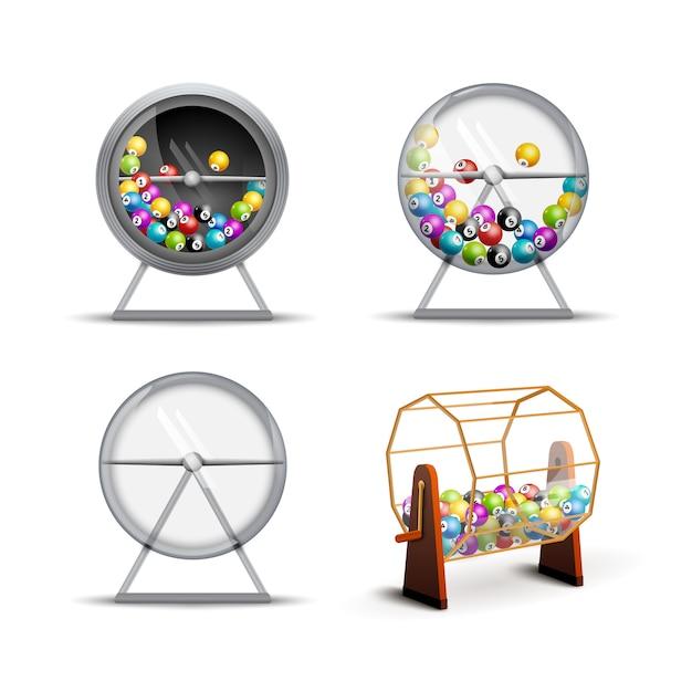 Macchina della lotteria con palline della lotteria all'interno Vettore Premium