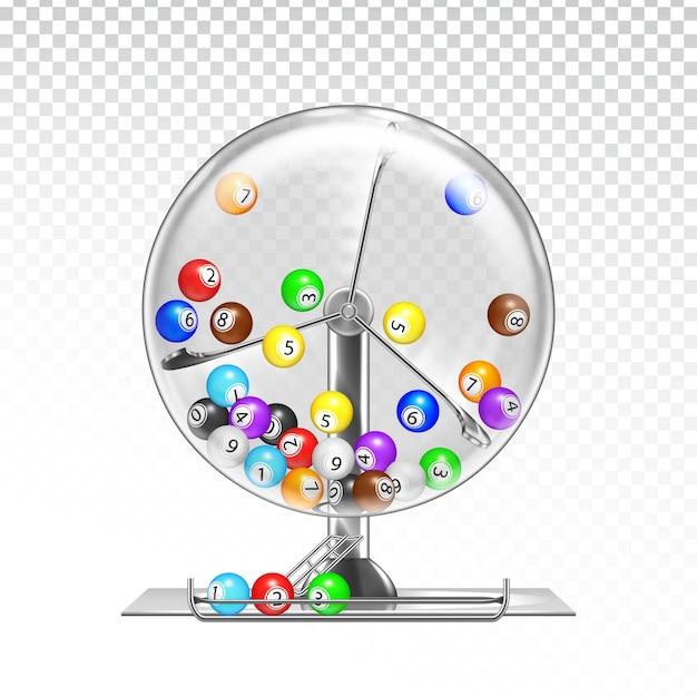 Macchina della lotteria con palline lotto all'interno Vettore Premium