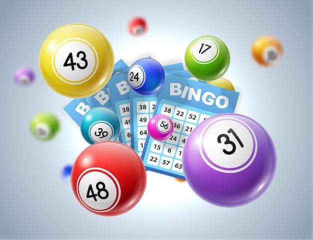 Palline del lotto e biglietti della lotteria con numeri Vettore Premium