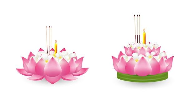 Fiore di loto, illustrazione realistica. Vettore Premium