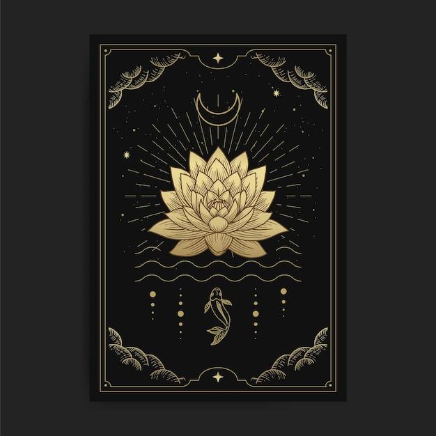 Fiori di loto che sbocciano sull'acqua decorati con la luna e il pesce, illustrazione di carte con temi esoterici, boho, spirituali, geometrici, astrologici, magici, per carta di lettore di tarocchi Vettore Premium