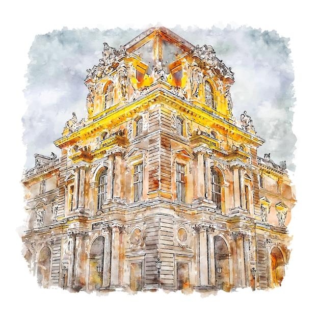 Illustrazione disegnata a mano di schizzo dell'acquerello del museo del louvre parigi francia Vettore Premium