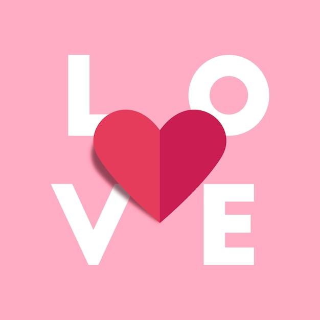 Amore alfabeto e cuore rosso origami carta piega Vettore Premium