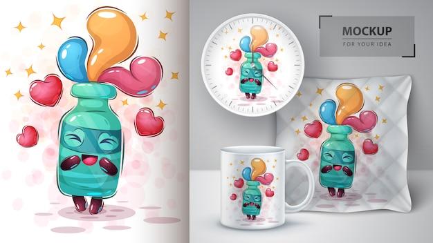 Love botle poster and merchandising Vettore Premium