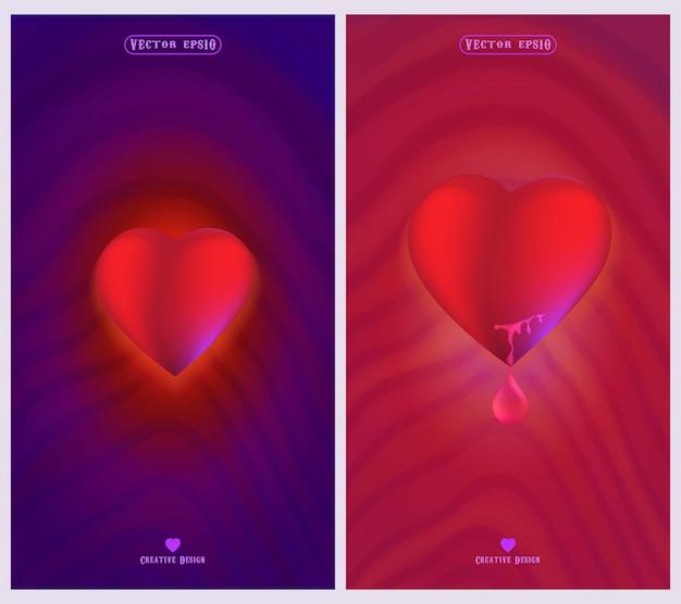 Simboli di amore e cuore con sfondi rosa e viola Vettore Premium