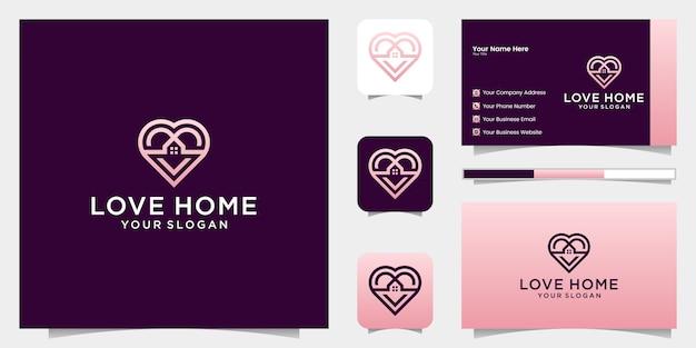 Love home logo cuore e combinazione di icone di casa e biglietto da visita Vettore Premium