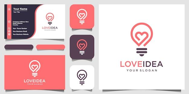 Idea d'amore con lampadina e logo a cuore e biglietto da visita. Vettore Premium