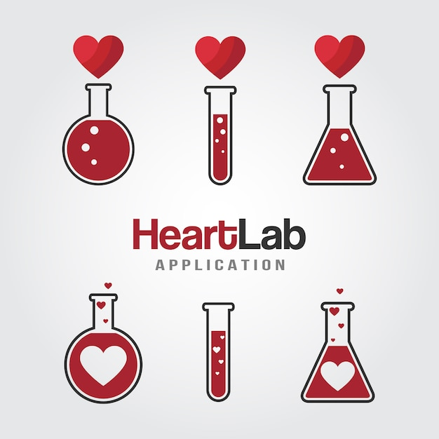 Modello di logo del laboratorio di amore Vettore Premium