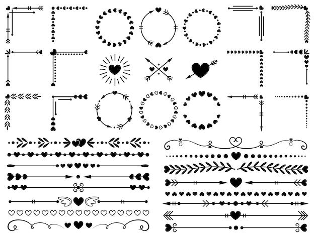 Ornamenti d'amore. matrimonio cuori ornamentali, bordo decorativo del cuore e inlove cornice ornamento set di elementi Vettore Premium