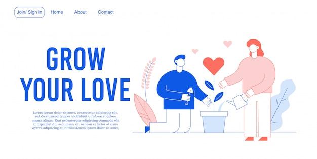 Amore relazione romantica, beneficenza atti landing page Vettore Premium